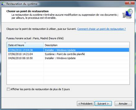Points Restauration Windows  Retrouver
