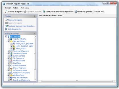 Tuto ---->  Regedit : mode d'emploi Glarysoft-registry-repair