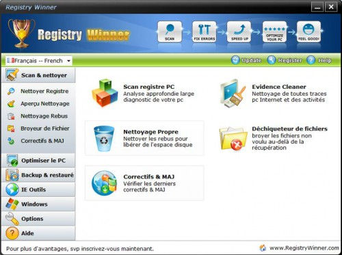 scan et nettoyer registre