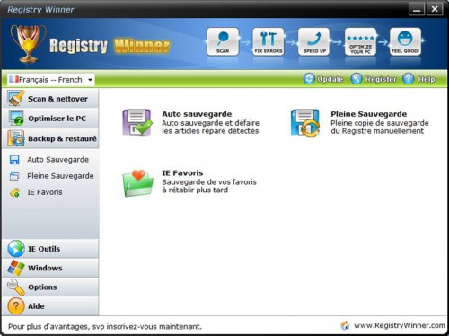 backup et restaurer base de registre