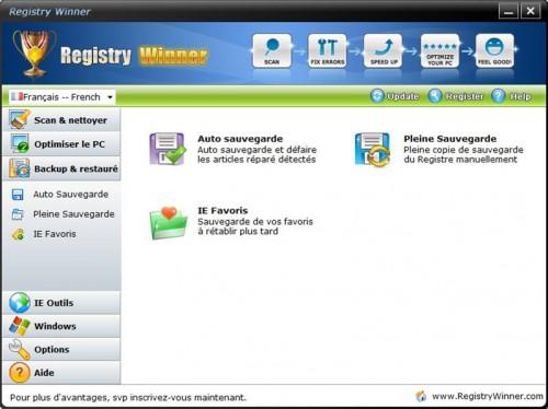 backup et restaurer base de registre