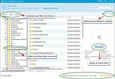 Résultats EaseUS Data Recovery Wizard Free
