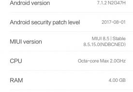 Screenshot à propos Mi5X